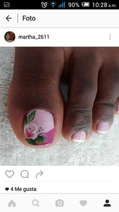 Uñas French Pedicure, Pedicure Nail Art, Toe Nail Art, Easy Nail Art, Acrylic Nails, Pretty Toe Nails, Cute Toe Nails, Diy Nails, Pedicure Designs