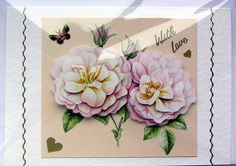 Rose HandCrafted 3D Decoupage Card  With Love by SunnyCrystals, £1.65