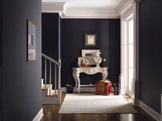 Couleur peinture entrée maison bleu canard escalier gris