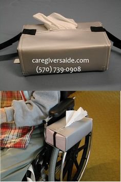 Style 1  - Gray only    Keep tissues handy for wheelchair users.   Save caregiver steps chasing down tissues.  Convenient, dignified access for wheelchair user.  Adjustable for various box sizes.   Wipe clean vinyl   Keeps tissues dry from weather, spills, or runny noses.   Attaches, detaches easily  Attaches onto right or left side, onto push handles at back,  or across front.  Personalize with sew on patches  Instructions enclosed  Add Soiled Tissue Holder to complete package $19.99