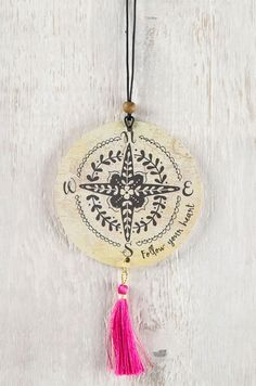 pink tassel, compass follow your heart, natural life air freshener