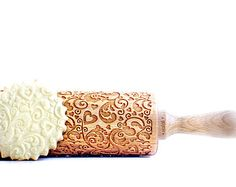 FLOWERS and HEARTS - embossing rolling pin, laser engraved rolling pin. <3