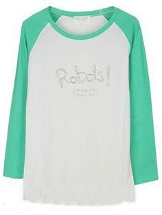 Green Long Sleeve White Letters Print T-Shirt