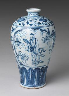 Bottle with Daoist Immortal Zhongli Quan, Ming dynasty (1368–1644), second half of 15th century  China  Porcelain painted with underglaze cobalt blue
