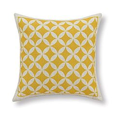 "Euphoria Home Decorative Cushion Covers Pillows Shell Cotton Linen Blend Yellow Circles Rings Chain Geometric Figures 18"" X 18"""