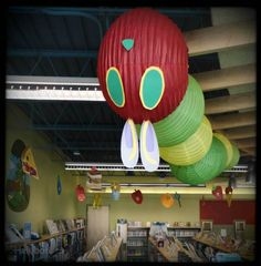The Very Hungry Caterpillar decor at the Children's Library | Hafuboti.com, done with Japanese lanterns.