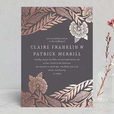 """Block Printed Border"" - Foil-pressed Wedding Invitations in Cement by Katharine Watson. #affiliatelink #weddinginvitation #foilpressed"