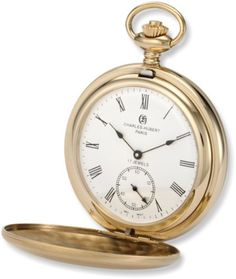 CharlesHubert Paris 3908GR Premium Collection GoldPlated Stainless Steel Satin Finish Double Hunter Case Mechanical Pocket Watch * Watch details can be found by clicking on the image.