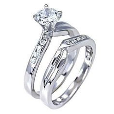 Caitlyn: Stylish 1.15c Russian Ice Diamond CZ 2 Piece Wedding Ring Set