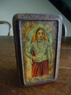 ANCIENNE BOITE TOLE LITHO ECHANTILLON ? THE DE L'INDE FRENCH INDIA TEA BOX