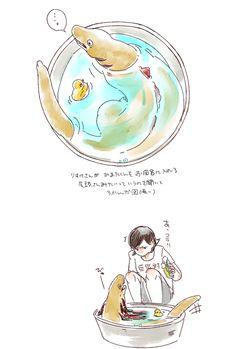 あぶら @numa_oil 9月19日 りすけさんが 蒲田くんを お風呂に入れる 尾頭さんがみたいって いっていたので