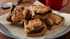 Sweet and fudgy baked bars with hints of salted caramel make a perfectly easy dessert to serve.