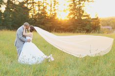 Cassidy + Nick : A J&D Farms Wedding : Veil blowing in the wind
