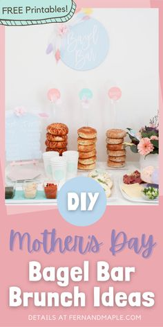 How to set up a lovely bagel bar for a modern mixed pastel Mother's Day brunch! Get details, recipes, FREE printables and more DIY Mother's Day Brunch ideas on fernandmaple.com!
