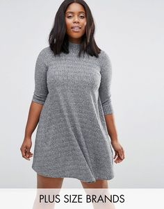 Buy it now. New Look Plus Rib Swing Dress - Grey. Plus-size dress by New Look Plus, Midweight ribbed knit, High neck, Swing shape, Regular fit - true to size, Machine wash, 97% Polyester, 3% Elastane, Our model wears a UK 18/EU 46/US 14 and is 178cm/5'10 tall. ABOUT NEW LOOK PLUS With the same trend-led, fashion edge as the mainline collection, New Look's plus-size clothing range features stylish pieces up to a size 28. Specially cut to deliver a flattering fit every time, look to a stylish…