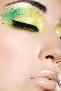 green & yellow #makeup