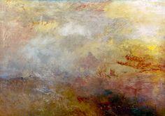 Titulo de la imágen Joseph Mallord William Turner  - Rough sea with dolphins