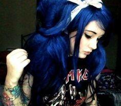 Hair for aubry Navy Blue Hair, Dark Red Hair, Hair Color Blue, Cool Hair Color, Colored Hair, Hair Colors, Dark Blue, Teal, Johnny Depp