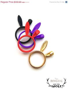 Blue Bunny Ring Bunny Ears ring Lovely whimsical ring animal jewellery Valentines gift animal lovers for the sweetheart of your life 990 via Etsy Animal Rings, Animal Jewelry, Jewelry Art, Jewellery, Black Bunny Ears, Blue Bunny, Biscuit, 3d Printed Jewelry, Kawaii Jewelry