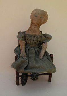 Mid 19th Century Cloth Doll from arielbebes on Ruby Lane