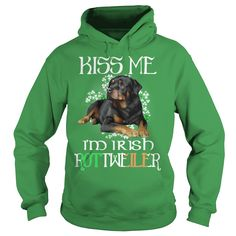 Saint Patricks Day Being Irish Rottweiler Dog.Kiss Me I Am Irish Rottweiler Dog
