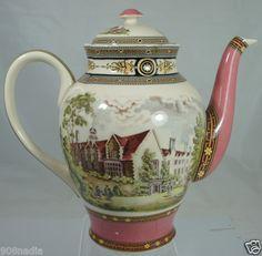 Antique Style Porcelain Large Tea Pot Victorian English or French Castle Scene