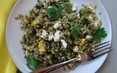 Freekeh (green wheat) salad with grilled zucchini