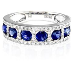 Effy  Round Sapphire & Diamond Ring In 14K White Gold ($1,680) ❤ liked on Polyvore featuring jewelry, rings, grey, 14 karat diamond ring, round ring, white gold rings, diamond enhancer ring and enhancer ring