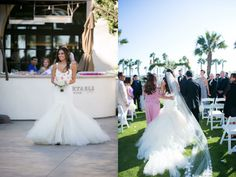 """ONCE UPON A SEAM:  A swoon-worthy look at Bride Sunshine's glamorous Huntington Beach wedding in a custom Lauren Elaine """"Aurelia"""" gown. See the full blog post and more gorgeous photos at http://blog.lauren-elainedesigns.com/2015/09/28/sunshines-happily-ever-after-in-huntington-beach/"""
