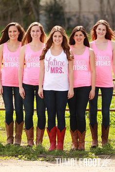 "Super cute ""Cheers Bitches"" and ""Future Mrs."" glittery bachelorette party shirts!"
