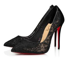 Lace Pumps, Suede Heels, Stiletto Heels, Black Lace Heels, Black Louboutin Heels, Black Suede, Red And Black Shoes, Red Bottom Heels, Lace Shoes