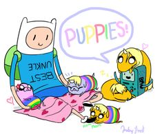 Puppies! by *malengil on deviantART. Adventure Time babies!