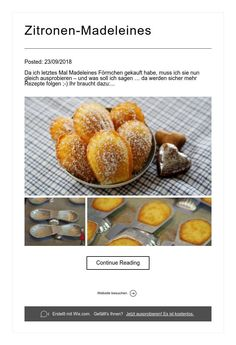 Zitronen-Madeleines Baked Potato, Cantaloupe, Potatoes, Baking, Fruit, Ethnic Recipes, Food, Madeleine, Food Food