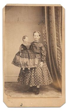 Creepy Civil War era CDV Image of Girl Woman with Large Doll ~  Philadelphia