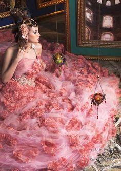Stella de Libero, gown, couture, wedding, bridal, dress, fantasy, flowers, flower, floral, flora, fairytale, fashion, designer pink