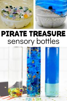 Shiver me timbers, is that pirate gold I spy? Ye better share some of that sunken treasure or I'll make ye walk the plank! Enjoy these 3 variations of a pirate sensory bottle! Preschool Pirate Theme, Pirate Activities, Early Learning Activities, Sensory Activities, Activities For Kids, Sensory Bottles Preschool, Sensory Wall, Sensory Boards, Calm Down Jar