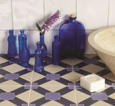 These stunning dark blue and indigo Alhambra tiles are inspired by the Alhambra palace.