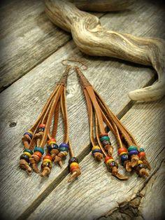 Bohemian Earrings, Leather Beaded Earrings, Tribal Earrings, Leather Fringe, by StoneWearDesigns Supernatural Style Tribal Earrings, Fringe Earrings, Leather Earrings, Bead Earrings, Leather Jewelry, Flower Earrings, Chandelier Earrings, Tassel Jewelry, Bohemian Jewelry