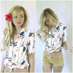 Vintage geometric shirt by saltontherocks on Etsy