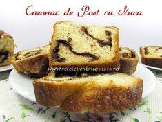 Cozonac de Post cu Nuca - poza 1 Banana Bread, French Toast, Breakfast, Sweet, Desserts, Chocolates, Morning Coffee, Candy, Tailgate Desserts