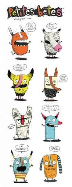 Petites bêtes - Little Beasts - Elise Gravel • character design • characters • monsters • Illustration • drawing • art • funny