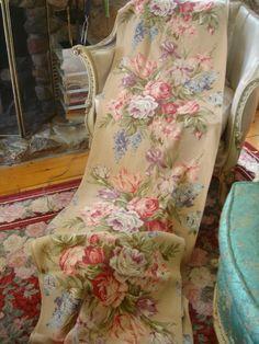 Rose barkcloth curtain via corrabellerose