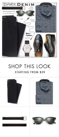 """""""Menswear Essential: Dark Denim"""" by rosie305 ❤ liked on Polyvore featuring Lands' End, Whiteley, Banana Republic, Paul Smith, Ray-Ban, men's fashion, menswear, darkdenim and menswearessential"""