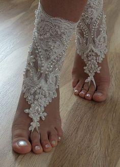 Beach shoes - Unique design bridal sandals lariat by Theworldofbrides