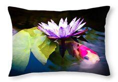 "Shubunkin Goldfish With Waterlily Throw Pillow 20"" x 14"""