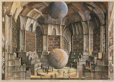 Érik Desmazières: La Salle des planètes, from his series of illustrations for Jorge Luis Borges's story 'The Library of Babel,' 1997–2001.