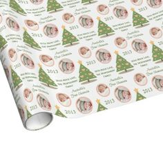 Custom Photo First Christmas Tree Pink Heart Gift Wrap Paper