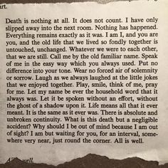 """Death is nothing at all..."" by Henry Scott Holland (1847-1918), Regius Professor of Divinity, University of Oxford"