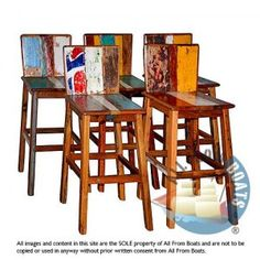 bar chair retro, reclaimed boat timber. Nautical, recycled, reclaimed, boatwood, boat furniture.