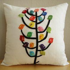 little birds, trees, linens, cushions, felt birds, pillow covers, bird of paradise, ray ban sunglasses, pillows
